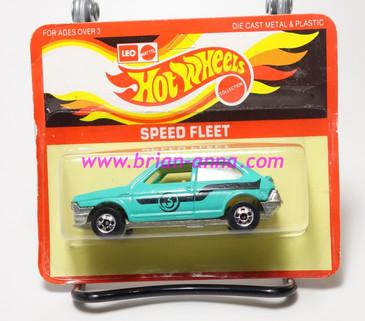 Hot Wheels Leo India Mattel Fiat in Aqua, blackwall wheels, blisterpack