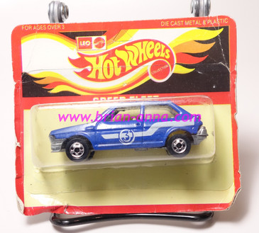 Hot Wheels Leo India Mattel Fiat in Blue, blackwall wheels, blisterpack