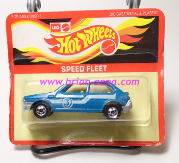 Hot Wheels Leo India Mattel Fiat in Blue, blackwall wheels, blisterpack
