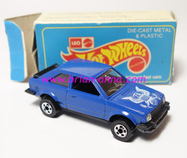 Hot Wheels Leo India Mattel Ford Escort in Blue, blackwall wheels, loose