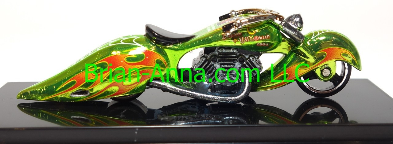 Hot Wheels Mattel's 2004 Dream Halloween Charity Car W-Oozie Motorcycle, Greem Chrome