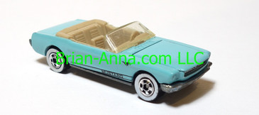 Hot Wheels '65 Mustang Convertible, Lt BLue, Whitewalls, Malaysia base, loose