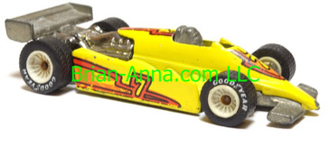 Hot Wheels Turbo Streak Formula Racer, Bright Yellow, White Hub Real Rider wheels, Malaysia base, loose