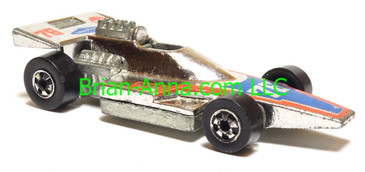 Hot Wheels Formula 5000 Formula Racer, Chrome, Blackwall wheels, Malaysia base, loose