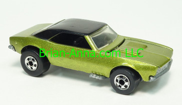 Hot Wheels '67 Camaro, Green with Black roof, Blackwall wheels, Hong Kong base, loose