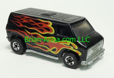 Hot Wheels 1977 Super Van, Black with Flames, Blackwall wheels, Hong Kong base, loose