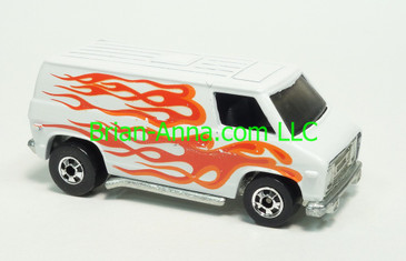 Hot Wheels 1980 Super Van, White with Flames, Blackwall wheels, Hong Kong base, loose
