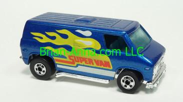 Hot Wheels 1985 Super Van, Metalflake Blue with Flames, Blackwall wheels, Malaysia base, loose