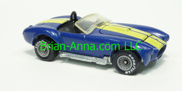 Hot Wheels 1985 Classic Cobra from Mexico, Blue with Yellow Stripes, Real Rider Tires, Malaysia base, loose