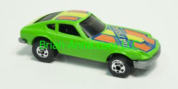 Hot Wheels 1983 Speed Machine Series Z-Whiz, Green with Orange tampo, Blackwall wheels, Malaysia base, loose