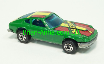 Hot Wheels 1984 Mexico Z-Whiz, Dark Green with Dark Red/Yellow/Black tampo, ALL SMALL Blackwall wheels, France base, loose