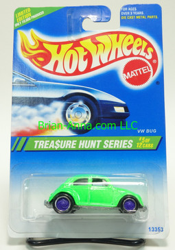 Hot Wheels 1995 Treasure Hunt VW Bug in Green, Purple TW wheels, non mint card