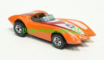 Hot Wheels 1983 Speed Machine Series Second Wind, Orange, Blackwall wheels, Malaysia base, loose
