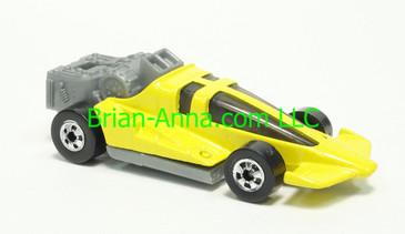 Hot Wheels 1983 Speed Machine Series Turbo Wedge in Yellow, Blackwall wheels, Malaysia base, loose