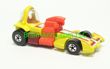 Hot Wheels 1983 Speed Machine Series Bubble Gunner in Yellow with Reddish Brown base, Blackwall wheels, Malaysia base, loose