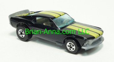 Hot Wheels 1983 Speed Machine Series, Mustang Stocker, Black, Blackwall wheels, Malaysia base, loose