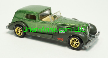 Hot Wheels 1995 Treasure Hunt '35 Classic Caddy, Green, pc6gd wheels, Malaysia base, loose
