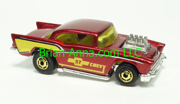 Park n Plate exclusive - Hot Wheels 1989 '57 Chevy with exposed engine, Dark Metalflake Red, HOGD wheels, Malaysia base, loose