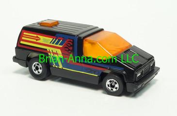 Hot Wheels 1984 Mexico - Inside Story, Black, Orange windows, White interior, Blackwall wheels, Malaysia base, loose