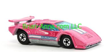 Hot Wheels 1988 Color Racers Lamborghini Countach, Pink, Blackwalls, Malaysia base, loose