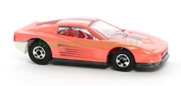 Hot Wheels 1988 Color Racers Black Base Ferrari Testarossa, Blackwall wheels, Malaysia base, loose
