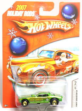 Hot Wheels 2007 Holiday Rods Green Plymouth Barracuda Funny Car with Chrome Hubs and Rubber Tires