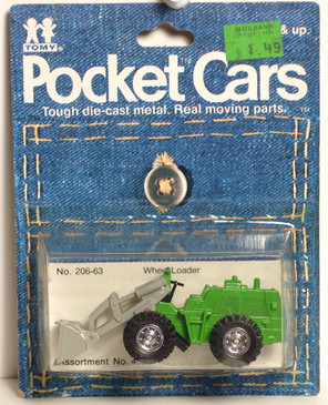 Tomy Tomica Pocket Cars Number 206-63, Green Wheel Loader.  Vehicle is mint and the card is decent condition for its age, made in Japan in the early 1980's.  Please see image(s) for details.