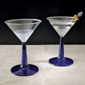 6 Ounce Plastic Martini Glasses With A Blue Stem.  Packed 96 to a Case.