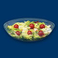 12 Inch Clear Plastic Oval Salad Bowls. Packed 24 to a Case.