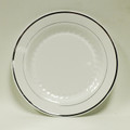 "Maryland Regal White And Silver 7.5"" Dessert Plates. Packed 120 to a Case"