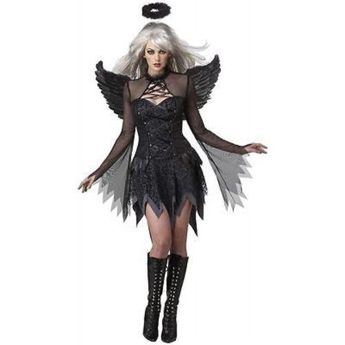 ADULT WOMENS FALLEN ANGEL HEAVEN DARK GOTHIC EMO HALLOWEEN COSTUME COSPLAY S-XL
