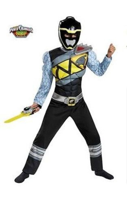 BLACK POWER RANGER DINO CHARGE MUSCLE CLASSIC CHILD HALLOWEEN COSTUME S-L