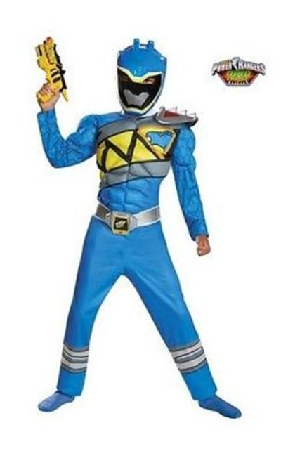BLUE POWER RANGER DINO CHARGE MUSCLE CLASSIC CHILD HALLOWEEN COSPLAY COSTUME S-M