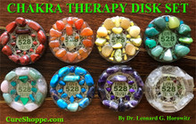 Image shows a finished set of eight 'Chakra Disks' (two for the Heart Chakra). Use your own artistic creativity and save hundreds of dollars by making these yourself using Dr. Horowitz's easy-to-follow instructions.