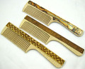 Wooden Comb with Decoration | Siberian Birch Bark