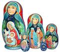 Silent Night Nativity Nesting 5 Piece Set | Religious Theme Matryoshka Nesting Doll