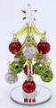 Mini Christmas Tree, Glass With Multi-Colored Detailed Ornaments
