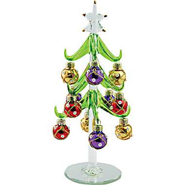 Mini Christmas Tree, Glass With Pearled Ornaments. Price: $24.95. Image 1 - Glass Christmas Tree, Tiny Christmas Tree, Miniature Christmas Tree