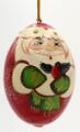Santa Egg with Bullfinch | Russian Christmas Ornament