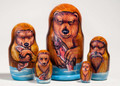 Brown Bear Nesting Doll | Alaska Theme Matryoshka Nesting Doll