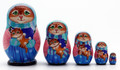 Mama Cat with Kitten in the Blue Hat | Fine Art Matryoshka Nesting Doll