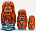 Grizzly Bear 3 Piece Doll | Alaska Theme Matryoshka Nesting Doll