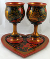 Tray and Wine Goblets Set for 2