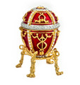Egg with an Arrow - Red with a clock | Faberge Style Egg