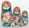 Snow Maiden with Polar Bear Cubs | Matryoshka / Nevalashka Doll