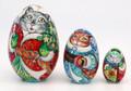 Santa - Cat 3 Piece   Matryoshka / Nevalashka Doll