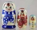 Snowman - Blue Scarf | Traditional Matryoshka Nesting Doll