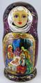 Nativity by Marina Rodionova - Burgundy | Religious Theme Matryoshka Nesting Doll