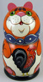 Red Cat with Rooster | Traditional Matryoshka Nesting Doll