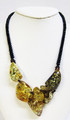 Asymmetrical Green and Cognac Color Amber Necklace